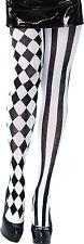 BA998 Harlequin tights black & white vertical stripe & diamond pattern Halloween