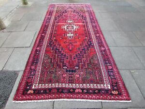 Vintage Hand Made Traditional Oriental Wool Red Blue Corridor Long Rug 350x154cm