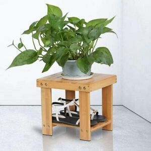 Rustic Small Size Sofa Side Table Stool Chair Seat Solid Wooden Storage Shelf