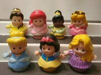 Fisher Price Little People 7 Disney Princess Lot Ariel Snow Belle Aurora Tiana