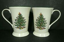 """Set of 2 Spode Christmas Tree Footed Mugs 4¾""""  - NWOB"""