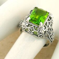 2.6 CT SIM PERIDOT 925 STERLING SILVER ANTIQUE FILIGREE STYLE RING SIZE 8, #1125