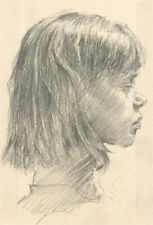 More details for franco matania (1922-2006) - charcoal drawing, profile portrait of a girl
