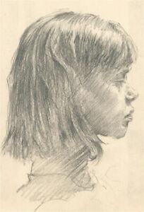 Franco Matania (1922-2006) - Charcoal Drawing, Profile Portrait of a Girl