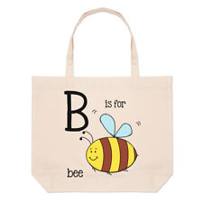 Letter B Is For Bee Large Beach Tote Bag - Alphabet Cute Funny Shopper Shoulder