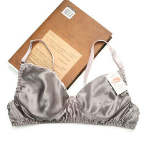 Womens 100% Silk Wirefree Thin Bra Sleep Underwear Bikini 34C 36C 38C 40C 44C 42