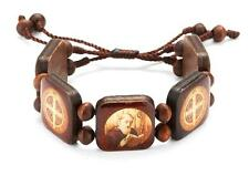 Wooden St Benedict Adjustable Bracelet with One Inch Image Blocks Catholic Gift
