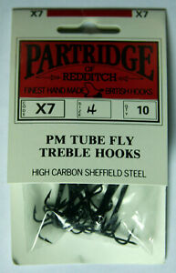 Partridge of Redditch X7 PM Tube Fly Treble Hooks, Size 4, 10 pk