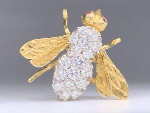 VINTAGE Herbert Rosenthal Diamond & Ruby 18k Yellow Gold Bee Brooch Pin