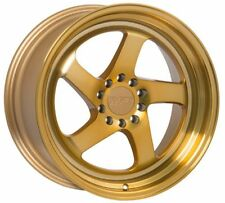 18X8.5 +45 F1R F28 5X112 MACHINED GOLD WHEELS Fits Vw Rabbit Cc Golf Gti Tdi Eos