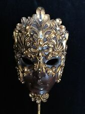 Fancy Decorative Bejeweled Costume  Mardi Gras Mask on Stand