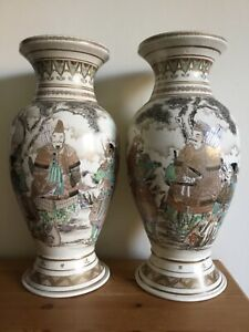 antique japanese satsuma pottery large pair vases