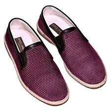 Dolce & Gabbana Bordeaux Goatskin Leather Breathable Loafers Slippers Mens Shoes