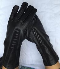 Elegant Black Leather Women's Gloves. Size S, M, L
