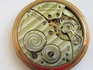 Antique Rose gold plate U.S.A. made Hamilton Pocket Watch 17 jewel adjusted 1938