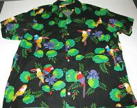 VTG Scorpio Men XL Hawaiian Button-Front Shirt Tropical Jungle Parrot Tucan USA