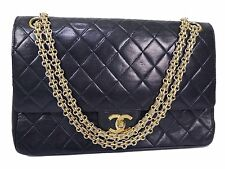 100% AUTH CHANEL NAVY LAMB VINTAGE DOUBLE FLAP CHAIN SHOULDER BAG W26.5 S662