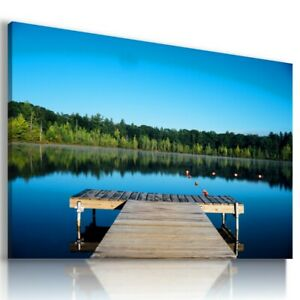 BEACH SEA PIER SUNSET Perfect View Canvas Wall Art Picture Large L299 UNFRAMED