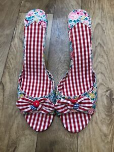 Joe Browns Red Gingham Ditsy Floral Mules Heeled Sandals UK 8 Rockabilly 50s