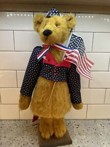 Linda Spiegel Patriotic America Bear Bobble Stand Independence Day 4th Signed