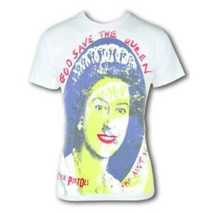 Sex Pistols God Save The Queen  - Official White T Shirt, (john lydon)