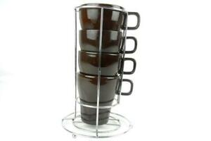 Pier 1 Imports Stacking Coffee Tea Mugs Brown With Metal Stand