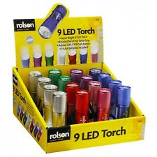 Rolson 9 LED Torch Light Pocket Flashlight Aluminium Coloured Colours 61693