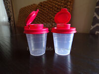 TUPPERWARE SALT AND PEPPER SHAKER SET Spice Small Midget Mini Travel S&P RED