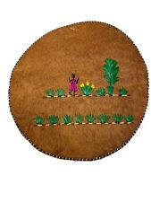Set Of 4 Hand Made Small  8 Inches Round Mats Faux Leather