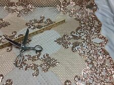 Mesh lace fabric Bridal Wedding Gold Metallic Sequins - Scalops. By The Yard