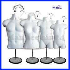 4 White Mannequins: Male Female Child & Toddler Body Forms + 4 Stand +4 Hangers