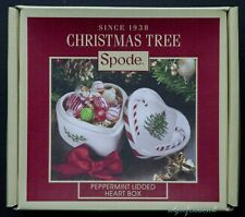 SPODE CHRISTMAS TREE PEPPERMINT LIDDED HEART BOX - candy box trinket box