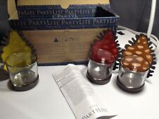 Partylite Twinkling Pine Cone Votive Candle Holder Trio New in Box Rare P93096