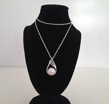 genuine 925 sterling silver  freshwater Teardrop  pearl zircon pendant necklace