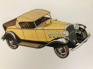 "CHEVROLET "" sport  roadster "" 1930s original DIE-CUT advertisement item / RARE"