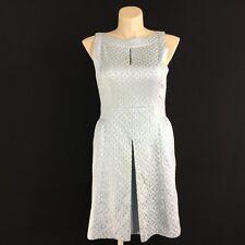 Ralph Lauren 14 XL Dress Pale Blue Silver Texture Geometric Keyhole Pleat Party