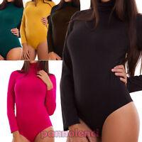 Body donna maglia collo alto felpato maniche lunghe basic nero sexy nuovo T726