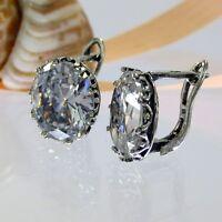 A429 Jugendstil Ohrringe 925 Silber Schmuck mit Kristall Steine Vintage Style