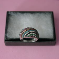 BEAUTIFUL RING 925 STERLING SILVER SIZE O12 WITH MULTI GEMS 4.5 GR. IN GIFT BOX