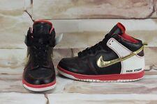 "Rare 2008 Nike Dunk High Premium ""FA08 STUDIO"" Red/Black/Gold Men's Shoes sz 9.5"