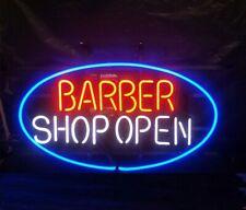 """Barber Shop Open Oval Neon Lamp Sign 17""""x14"""" Bar Light Garage Glass Artwork"""