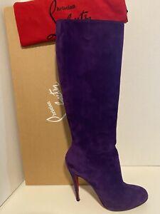 Christian Louboutin Purple Suede Knee High 100mm BABEL Boots Sz 40.5 -10 US MINT