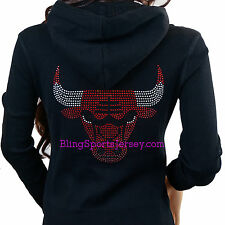 Chicago Bulls Jersey Bling Rhinestone Zipper Hoodie Sweater