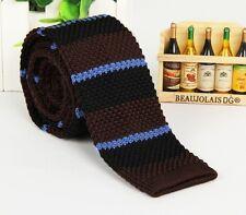 Mens Dark Brown Striped Knit Knitted Tie Necktie Narrow Slim Skinny Wove ZZLD311