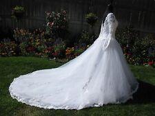 """White Size 10 Full Length """"Bonny"""" Beaded Wedding Gown w Long Train"""