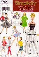 "Simplicity Archives 5785 11.5"" Fashion Doll Pattern Retro Vintage Bouse Coat"