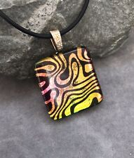 Dichroic Fused Glass Psychedelic Pendant Handmade w/necklace