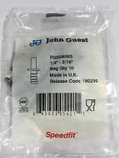 John Guest PI 250806S tube to hose stem, 1/4 stem OD, 3/16 hose ID (bags of 10)