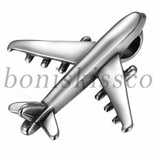 Polish Stainless Steel Plane Aircraft Flight Pendant Chain Necklace For Men Boys