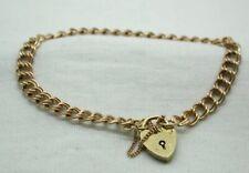 Lovely 9 carat Rose Gold Double Link Bracelet With Heart Padlock Fastener